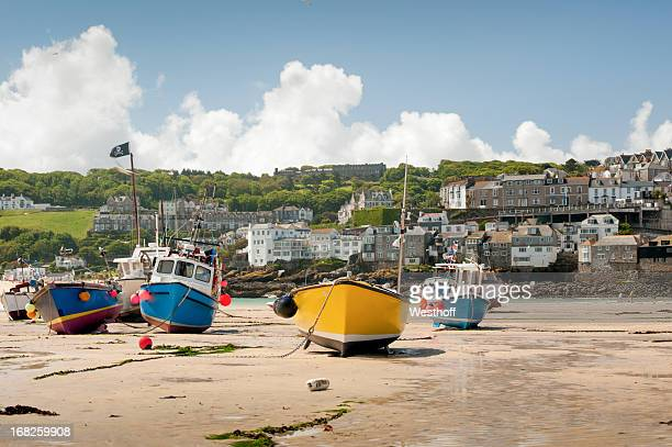 st. ives harbor - cornish flag stock pictures, royalty-free photos & images