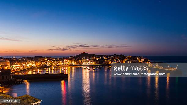 St Ives Harbour after sunset
