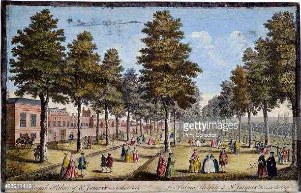 St James' Palace and Park, London, showing formal planting of trees in avenues, 1750. Men and women take the air and saunter along the walks in...