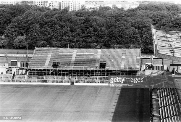 St James' Park football stadium in Newcastle upon Tyne, the home of Newcastle United F.C. Temporary seating at the Leazes End, circa 1987.