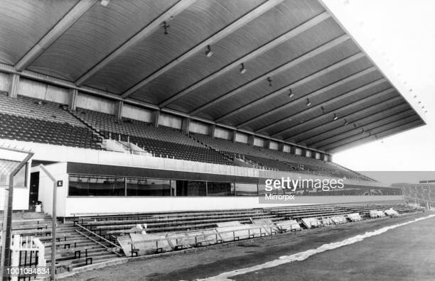St James' Park football stadium in Newcastle upon Tyne, the home of Newcastle United F.C. The new boxes on the way to completion, circa 1985.