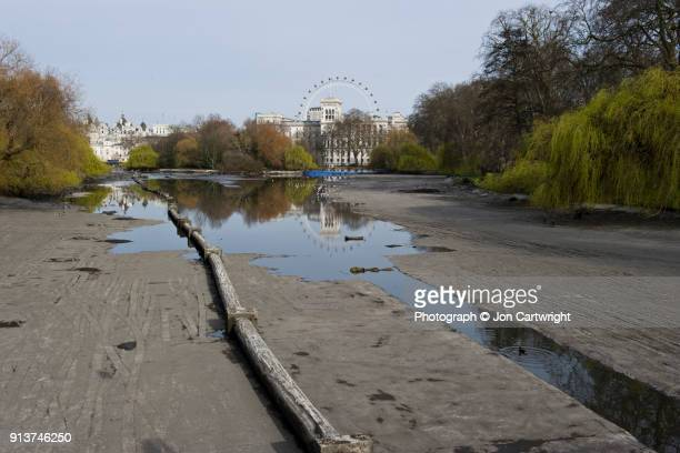 St James's Park duck pond drained of water