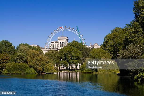 St. James's Park, Lake and London Eye, London, England.