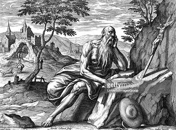 St Jerome Eusebius Sophronius Hieronymus Leading father of the Christian church Prepared first Latin translation of the Bible from Hebrew Engraving...