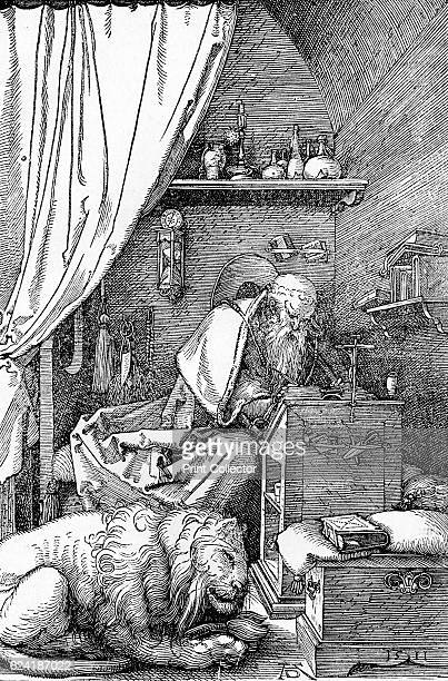 St Jerome in His Cell' From The Engravings of Albert Durer by Lionel Cust [Seeley and Co Limited London 1906] Artist Albrecht Durer