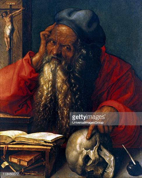 St Jerome' oil on panel Albrecht Durer German painter and printmaker St Jerome a father of Western Christian Church and compiler of the Vulgate Human...