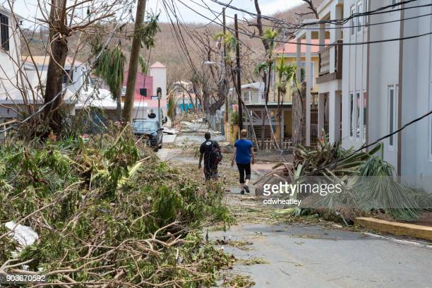 st john, hurricane irma destruction on road - spoil system stock pictures, royalty-free photos & images