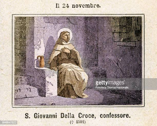 St John of the Cross founder of the Discalced Carmelites Commemoration on November 24 Colored engraving from Diodore Rahoult Italy 1886