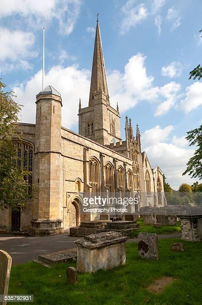 St John the Baptist church with spire, Burford, Oxfordshire, England, UK.