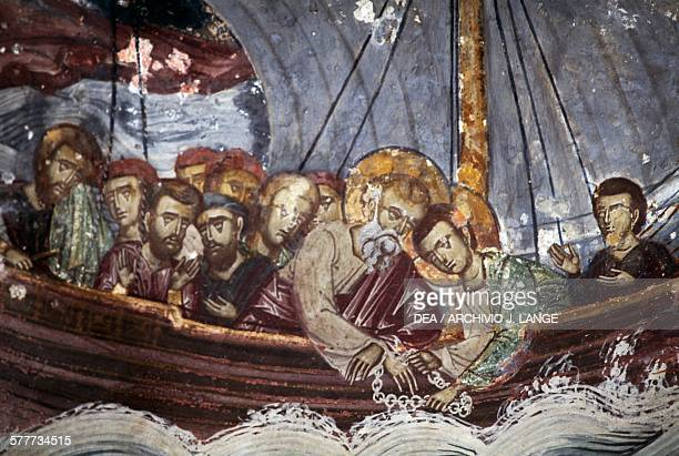 St John the Theologian in a boat fresco in the church of the monastery of St John the Theologian Chora Patmos island Greece 11th17th century