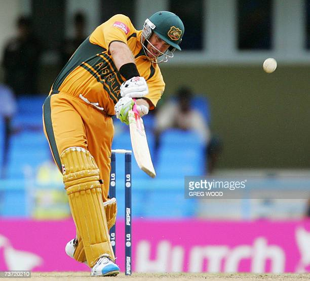 St John's ANTIGUA AND BARBUDA Australia's Matthew Hayden blasts the ball to the boundary during the World Cup Cricket Super Eight match against the...