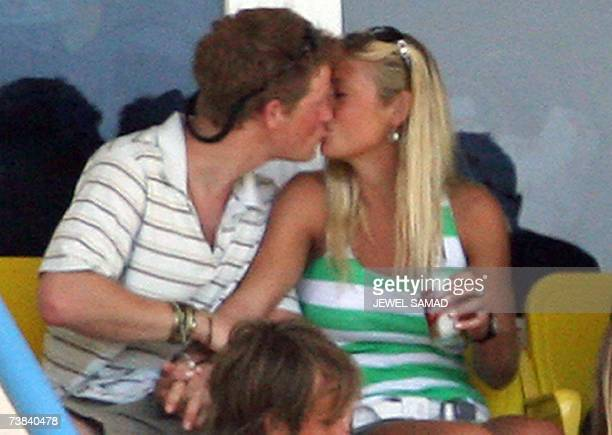 St John's ANTIGUA AND BARBUDA Britain's Prince Harry kisses his girlfriend Chelsy Davy as they watch the ICC World Cup Cricket 2007 Super Eight match...