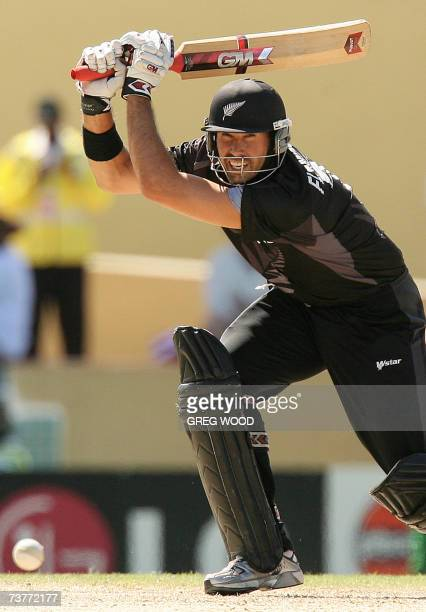 St John's ANTIGUA AND BARBUDA Captain Stephen Fleming of New Zealand plays a cut shot during the World Cup Cricket Super Eight match against...