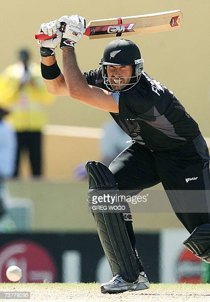 St John's, ANTIGUA AND BARBUDA: Captain Stephen Fleming of New Zealand plays a cut shot during the World Cup Cricket Super Eight match against...