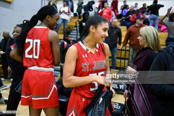 St John's Cadets Azzi Fudd smiles as she celebrates the 5145 win over the Paul VI Panthers January 03 2018 in Fairfax VA The St John's Cadets beat...