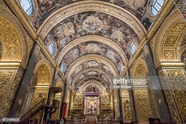 St John's Cathedral decorated interior, Valletta, Malta