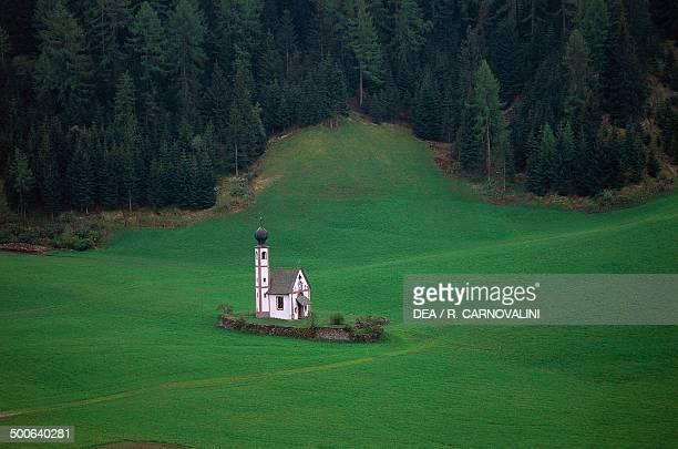 St John's church , 18th century, Funes, Puez-Geisler nature park, Trentino-Alto Adige, Italy.