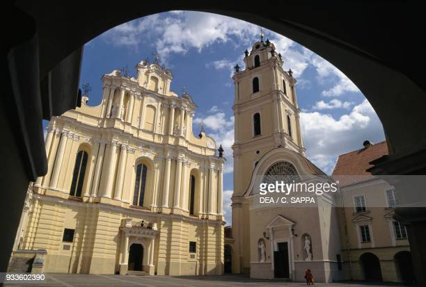 St John's church, 18th century, with its bell tower, Vilnius old town , Lithuania.