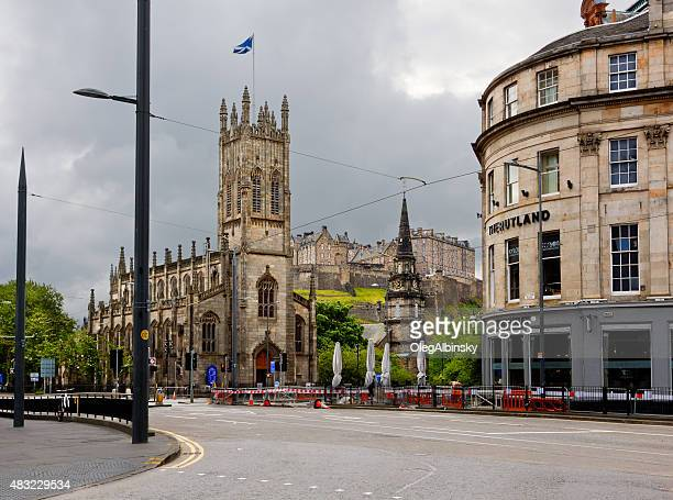 St John's Church and the Castle, Edinburgh, Scotland, United Kingdom.