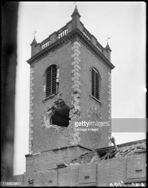 St John's Church High Street Deritend Birmingham West Midlands 1941 A view from the window of the Church Institute showing air raid damage to the...
