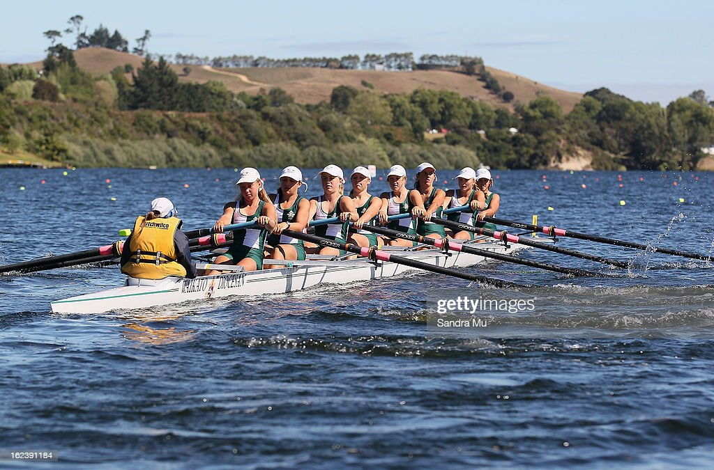 St Johns College Boys Novice U18 eight race during the New Zealand Junior Rowing Regatta on February 23, 2013 in Auckland, New Zealand.