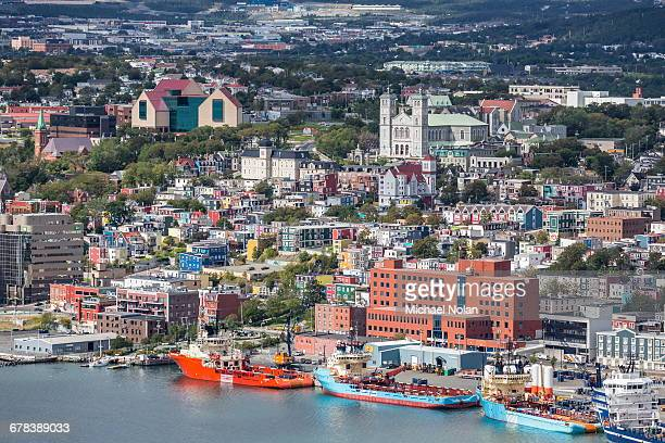 st. johns harbour and downtown area, st. johns, newfoundland, canada, north america - st. john's newfoundland stock photos and pictures