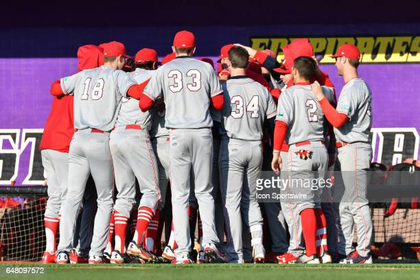 St John's players huddle before a game between the St Johns Red Storm and the East Carolina Pirates during the Keith LeClair Classic on March 4 2017...