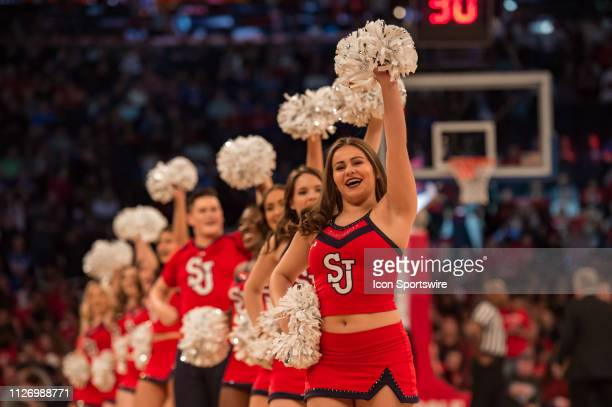 St John's Red Storm cheerleaders during the first half of the college basketball game between the Seton Hall Pirates and the St John's Red Storm on...