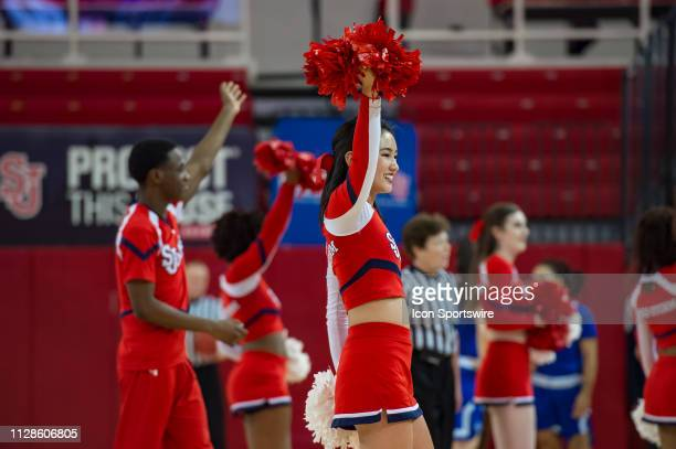 St John's Red Storm cheerleaders during the women's college basketball game between the Seton Hall Pirates and St John's Red Storm on March 3 2019 at...