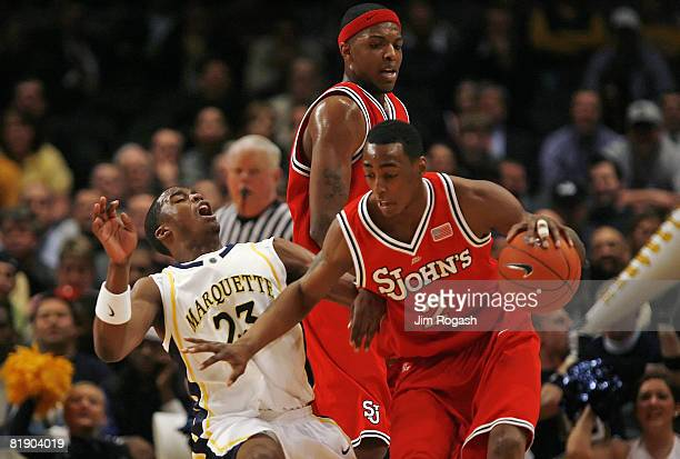 St John's Red Storm forward Anthony Mason Jr gets past Marquette Golden Eagles' guard Wesley Matthews during the first round of the 2007 Big East...