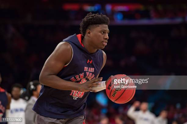 St John's Red Storm forward Marcellus Earlington warms up during the college basketball game between the Seton Hall Pirates and the St John's Red...