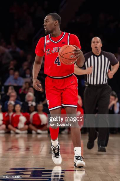 St John's Red Storm guard Greg Williams Jr handles the ball during the Big East tournament first round game between the St Johns Red Storm and...