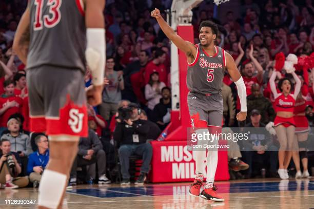 St John's Red Storm guard Justin Simon reacts during the second half of the college basketball game between the Seton Hall Pirates and the St John's...