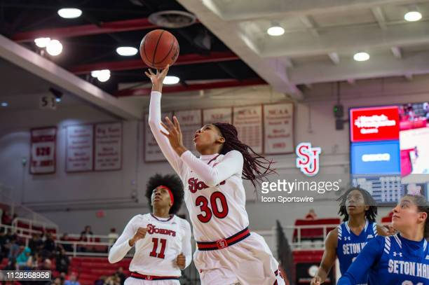 St John's Red Storm guard Kadaja Bailey shoots the ball during the second half of the women's college basketball game between the Seton Hall Pirates...