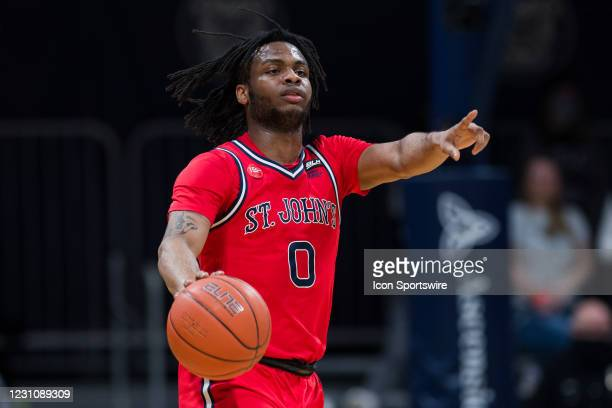 St. John's Red Storm guard Posh Alexander calls out a play during the men's college basketball game between the St. John's Red Storm and Butler...