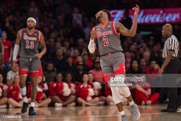 St John's Red Storm guard Shamorie Ponds reacts during the college basketball game between the Seton Hall Pirates and the St John's Red Storm on...