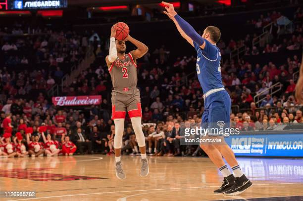 St John's Red Storm guard Shamorie Ponds shoots the ball during the first half of the college basketball game between the Seton Hall Pirates and the...
