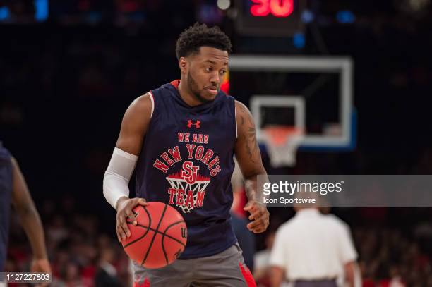 St John's Red Storm guard Shamorie Ponds warms up during the college basketball game between the Seton Hall Pirates and the St John's Red Storm on...