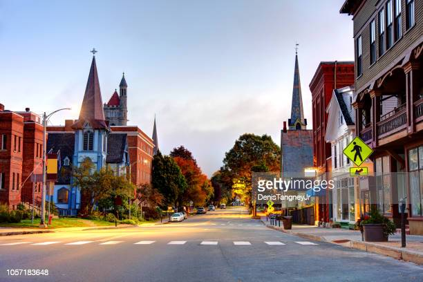 st. johnsbury, vermont - high street stock pictures, royalty-free photos & images