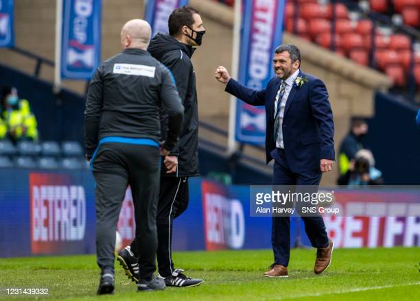 St Johnstone manager Callum Davidson celebrates at full time during the Betfred Cup final between Livingston and St Johnstone at Hampden Stadium on...
