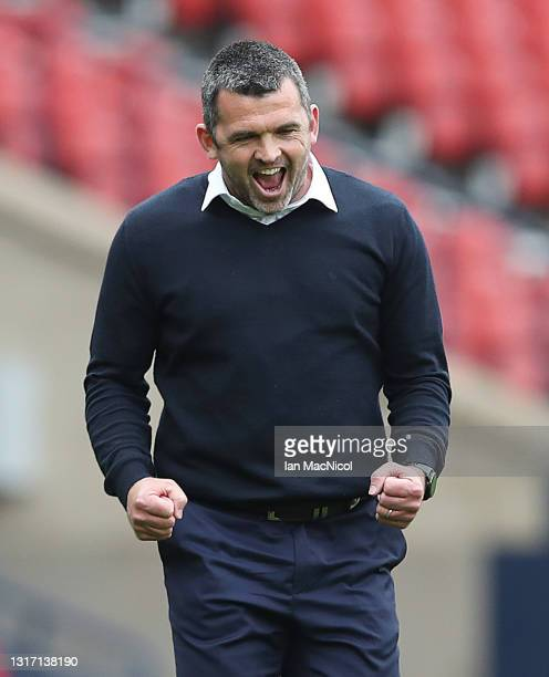 St Johnstone manager Callum Davidson celebrates at full time during the William Hill Scottish Cup match between St Mirren and St Johnstone at Hampden...
