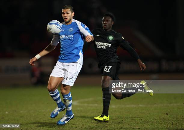 St Johnstone Rowan Vine and Celtic's Victor Wanyama during the Clydesdale Bank Scottish Premier League match at McDiarmid Park Perth