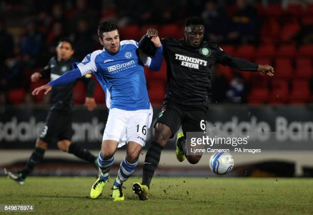 St Johnstone's Michael Doughty and Celtic's Victor Wanyama during the Clydesdale Bank Scottish Premier League match at McDiarmid Park Perth