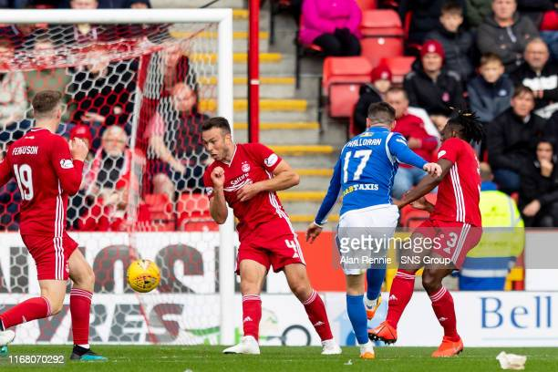 St Johnstones Michael OHalloran scores to make it 1-1 during the Ladbrokes Premiership match between Aberdeen and St Johnstone at Pittodrie Stadium...