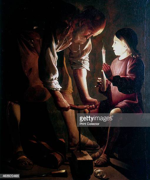 'St Joseph the Carpenter', c1640. St Joseph, husband of Mary and parental guardian of Jesus, at work assisted by a child holding a candle.