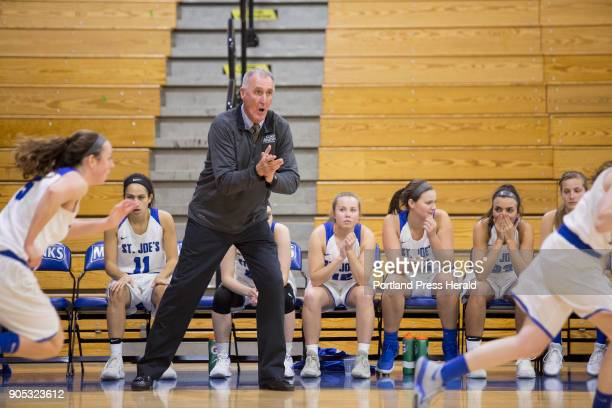 St Joseph's College girls basketball head coach Mike McDevitt on the sideline of their game against Johnson Wales University The team won their 11th...