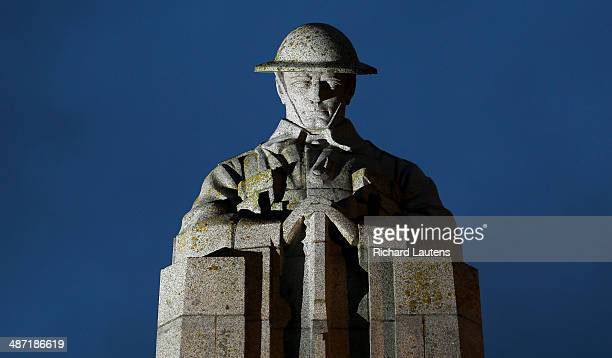 St Julien Belgium April 25 The Canadian 'Brooding Soldier' memorial was unveiled in 1923 to commemorate the second battle of Ypres and the first gas...