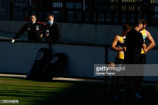 St Kilda General Manager Simon Lethlean and CEO Matt Finnis look on during a St Kilda Saints AFL training session at RSEA Park on June 03, 2021 in...