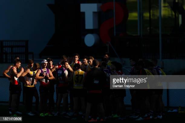 St Kilda player huddle during a St Kilda Saints AFL training session at RSEA Park on June 03, 2021 in Melbourne, Australia.