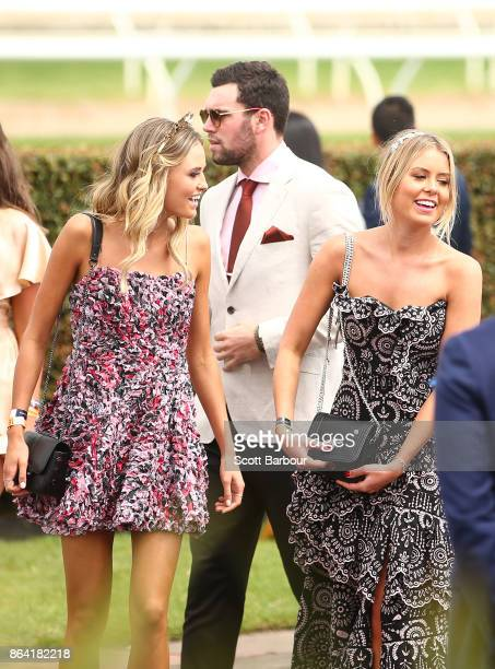 St Kilda Saints AFL player Paddy McCartin and Lucy Brownless attend Caulfield Cup Day at Caulfield Racecourse on October 21 2017 in Melbourne...